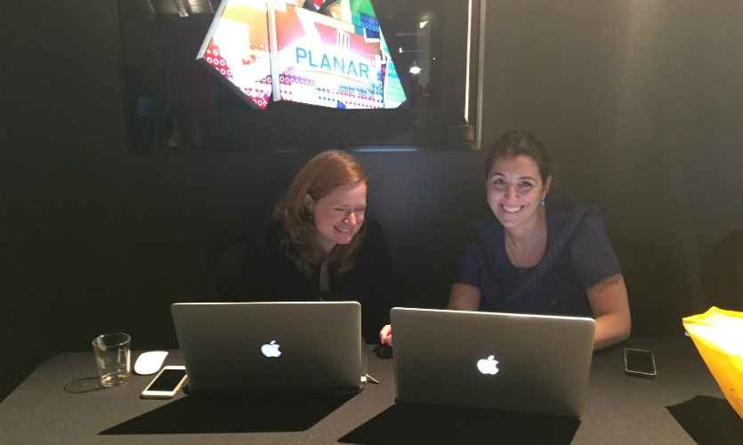 SEGD President Jill Ayers (left) and Rachel Einsidler, both of Airspace, snuck in some connection time during an Xlab break.