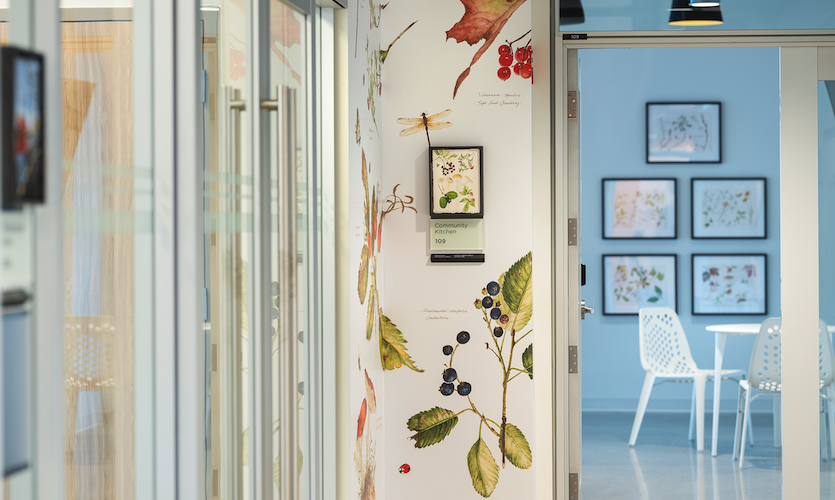 Small prints of edible plants were enlarged to create printed wallcoverings for a communal kitchen. (Art: Elaine Funnell /Photo: Jason Dziver and Michelle Jay)