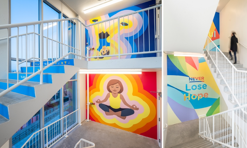 Graphics in the stairwells inspire residents and staff with vibrant colors.  (Art: Entro /Photo: Jason Dziver and Michelle Jay)