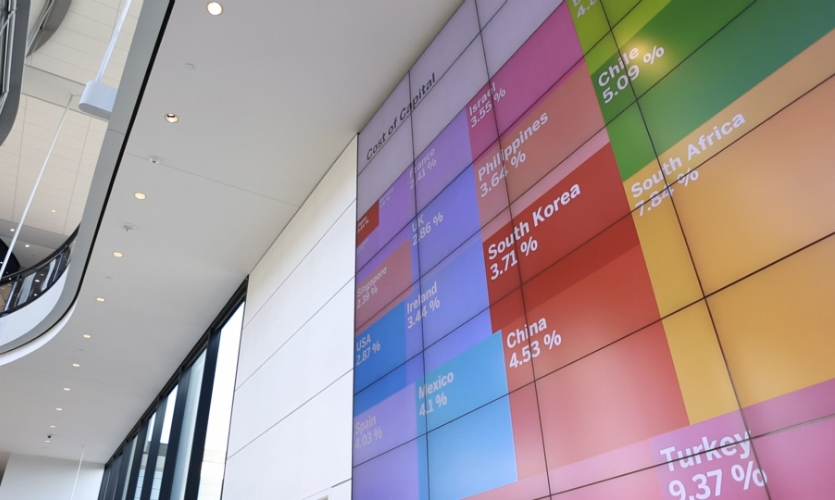 The new Yale School of Management building features three floors of interactive media and digital signage for students, faculty, and visitors.