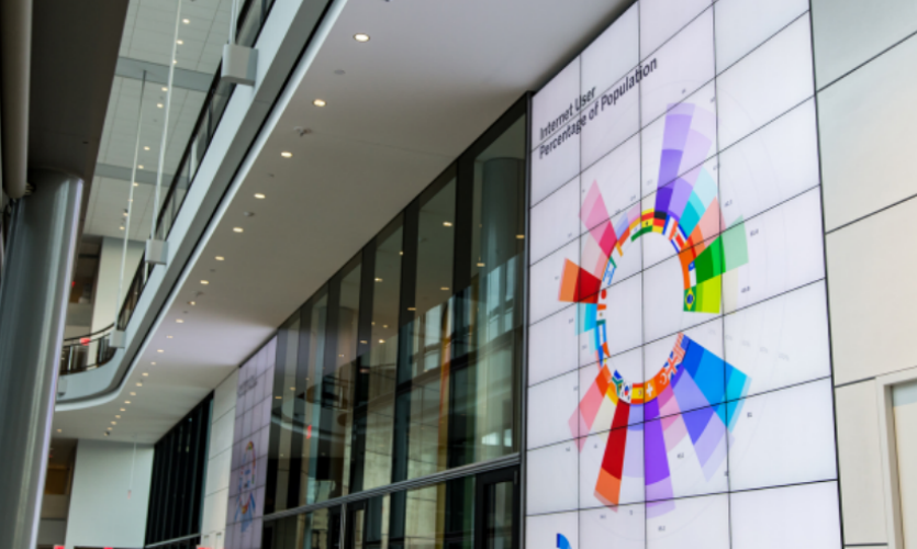 Unified Field pushed the boundaries of digital signage to create a narrow-cast network displaying real-time information and custom data visualizations.