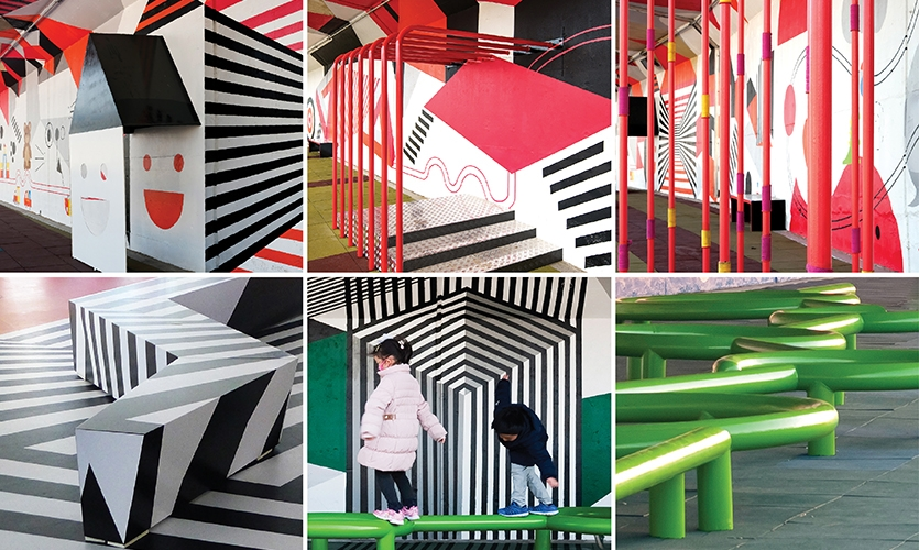 All furniture and playground equipment were custom made and installed to create a 3D form of graphic representation. (image: various views of street furniture)