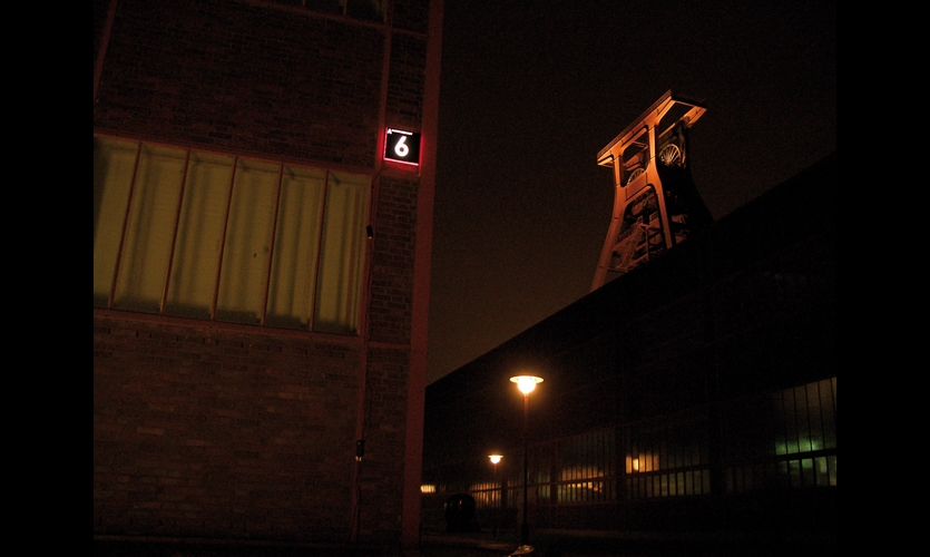 At night, the 16x16-in. numbers are made visible with red LED edge lighting.