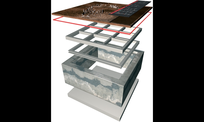 95-in square and 27-in. high, they are comprised of nine separate base plates, a band of red LEDs, and a cast-iron map of the site with an anodized legend plate.