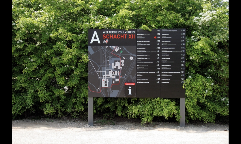 Large tenant panel signs are made of powdercoated steel with changeable tenant panels and dispensers for printed maps.