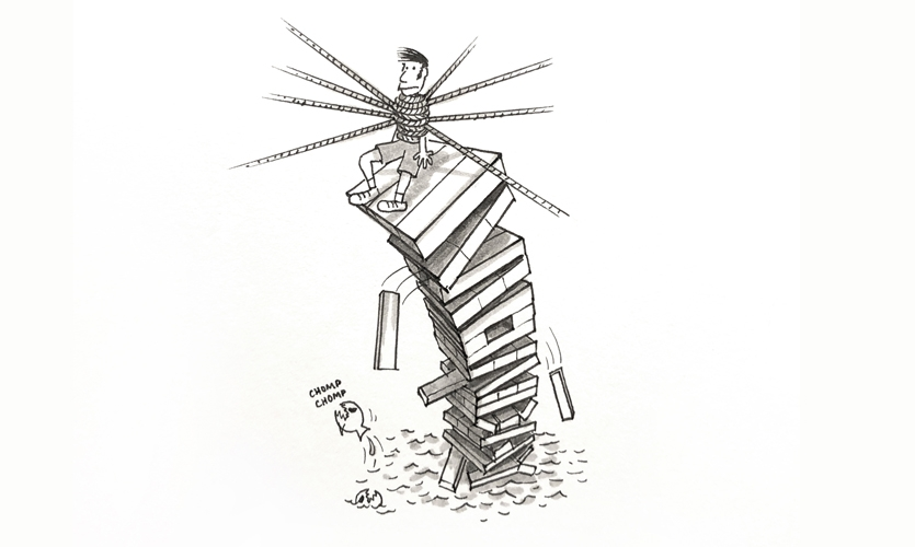 """Monday doodle #78: """"Today felt like a 7-way tug-of-war on a Jenga tower above a pool of piranhas."""""""