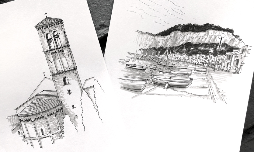 On-the-go sketches from travels to Italy in 2019.
