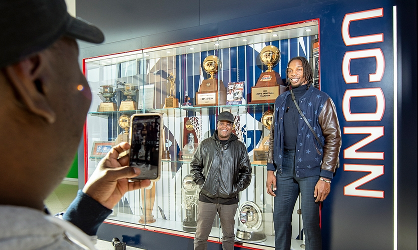 """The project was to serve as a """"reminder to our players what the standards are at UConn—competing and playing like a champion,"""" according to Dan Hurley, the men's basketball head coach."""