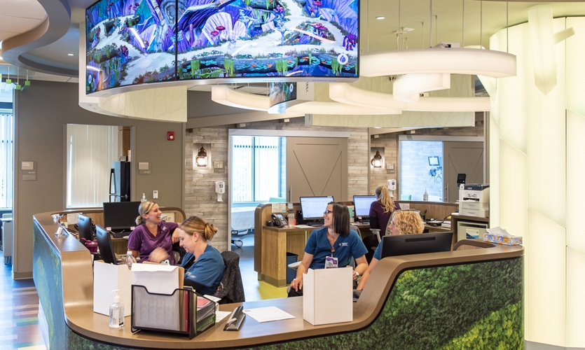 """Hospital staff and doctors suggested the idea of """"bringing the outdoors in"""" by creating a nature-inspired theme."""