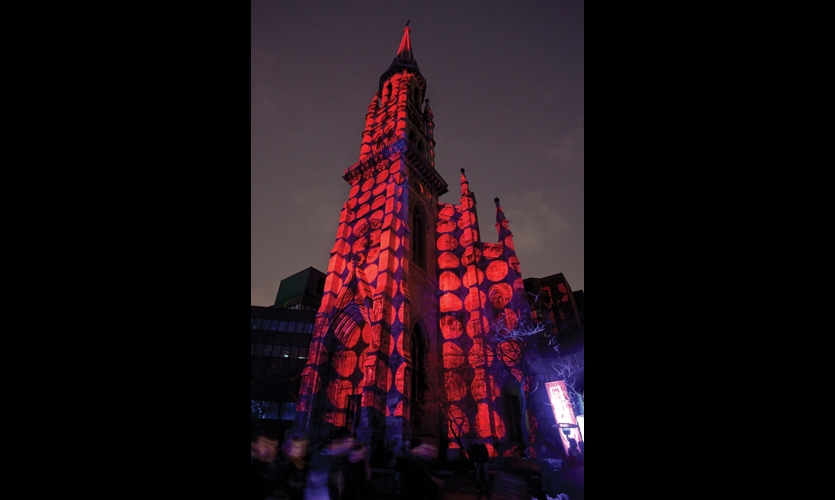 As part of Montreal's annual Light Therapy festival, multimedia artists including Julien Pavillard and Jean-Yves Sotinck (with artistic direction by Jimmy Lakatos), were allowed to show their work on the facade of the neo-Gothic Saint-Jacques Cathedral in the University of Quebec at Montreal's Pavilion Judith-Jasmin.