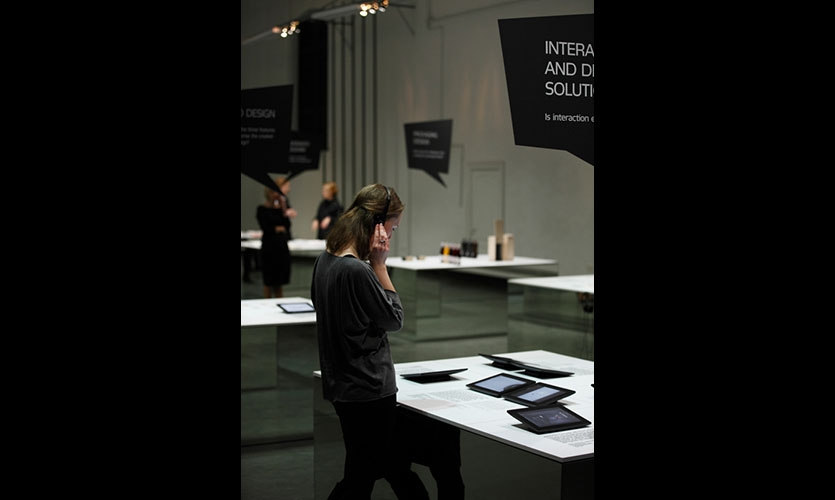 The graphic works were presented in three ways - texts and images as printouts, real objects and screen displays with videos.