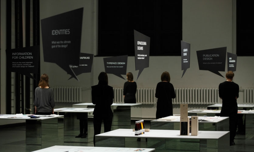 Visitors became part of the exhibition's graphic - their reflections in the mirrors, in some angles even replicating.