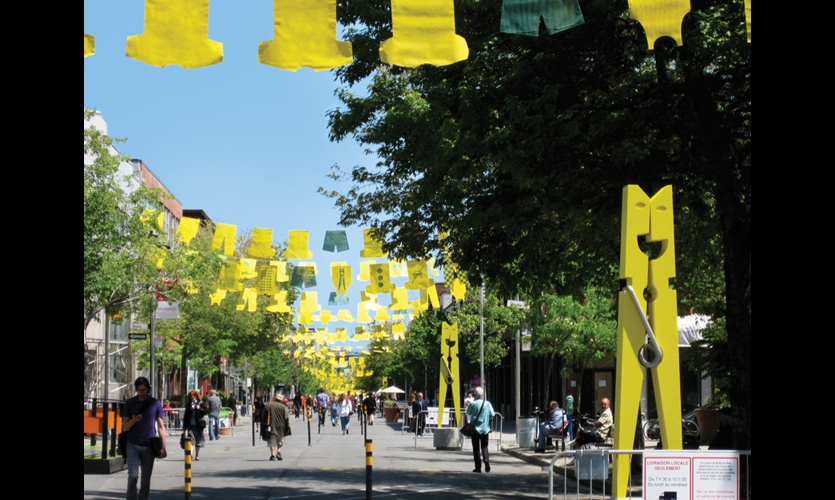 """Giant clothespins and """"clothes"""" cut from recycled banner material transformed the streets in Montreal's Gay Village. (Photos: Louis Gagnon)"""