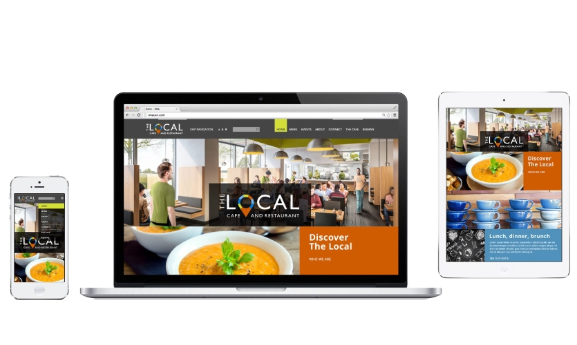 The design team used a vibrant color palette, employing blocks of orange, green and blue with lush food imagery, throughout for The Local Café and Restaurant's site.