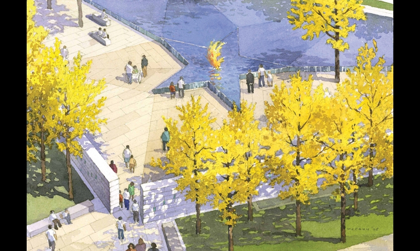 The Americans Disabled for Life Memorial will feature a star-shaped fountain with an eternal flame hovering over its center. The five points of the star represent the branches of the U.S. military.
