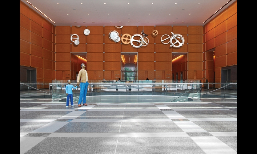 The digital experience melds seamlessly with the physical architecture and turns a commuter transportation hub into a public art gallery.