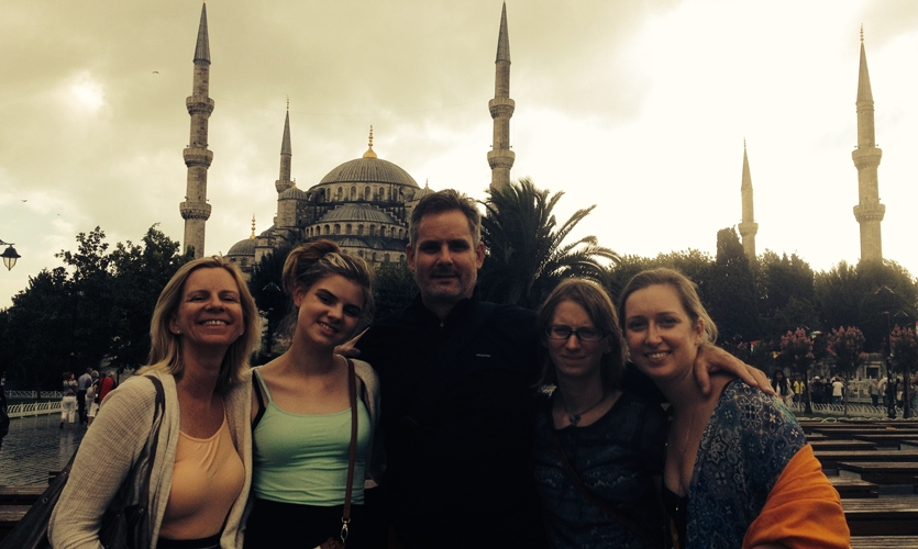 Celebrating my 50th in Istanbul with my husband and 3 daughters