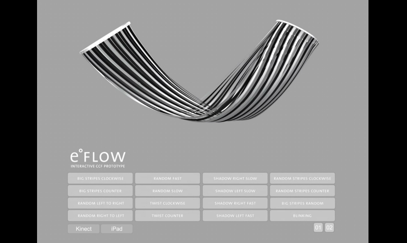 eFLOW is a 16-ft.-long interactive sculpture that uses Prism dynamic film by E Ink at architectural scale.