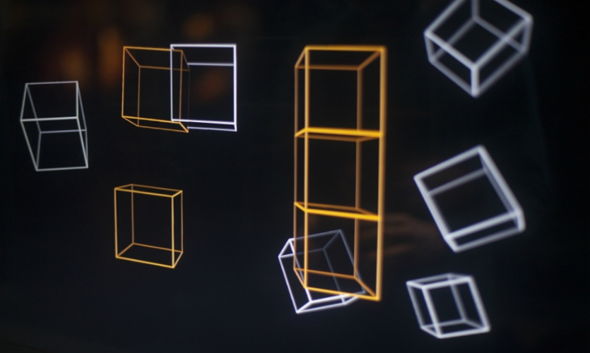 """Visitors are invited to reconstruct a place by solving a simple puzzle game--affording them a measure of lightweight engagement and allowing them to """"flip the page"""" after the intense exhibit content."""