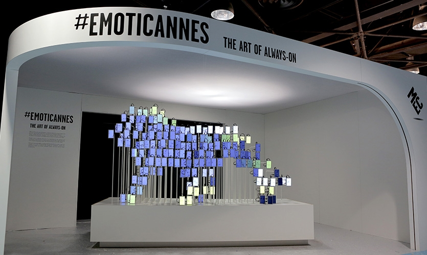 EmotiCannes interactive sculpture at Cannes Lions Innovation Festival in the MEC Palais Cabana, Rotonde Lerins Building.