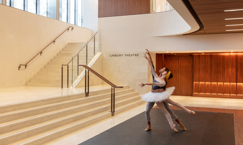 Royal Ballet dancers Olivia Cowley and Joseph Sissens in the Linbury foyer of the Royal Opera House, photo by Luke Hayes / ROH.