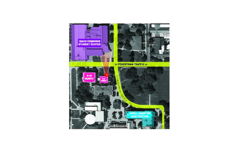 Fig. 7. Site plan of installations and proximity to Jazz Festival