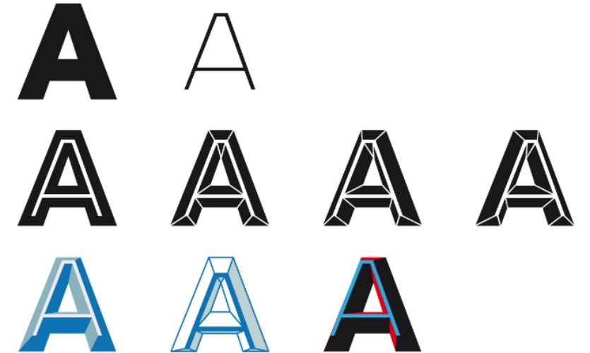 Baur layered and connected Irma typefaces for a prismatic appearance.