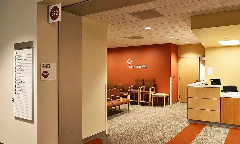 Patients at the Santa Clara Medical Center speak 12 different languages, so KKA developed a universal wayfinding system based on symbols and numbers.