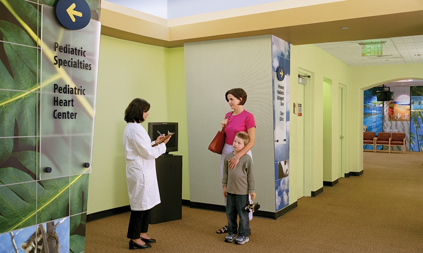 At the University of California, San Francisco Medical Center, KKA developed wayfinding for the remodeled Pediatric Clinics. Themed icons and graphic murals provide wayfinding paths and a pleasing distraction for young patients.