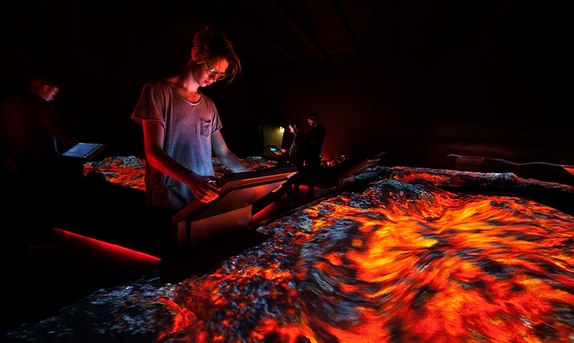 Intro to Volcanology: In this room visitors can experience and learn all about all the different types of volcanoes and volcanic systems found in Iceland.