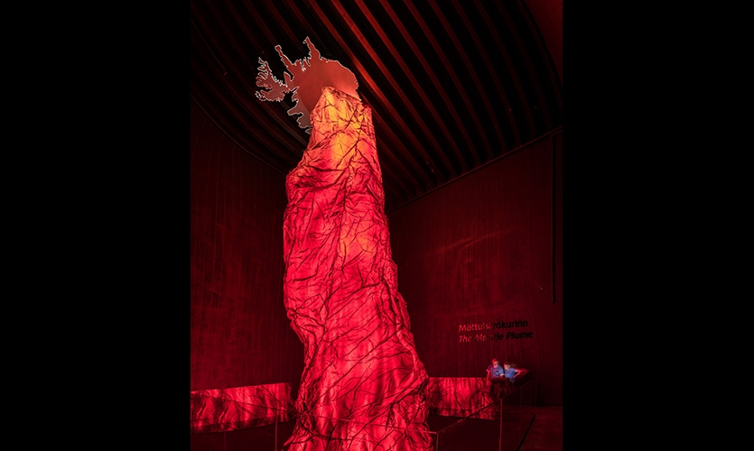 The Fiery Heart of Iceland: An exhibit showing the size of the Mantle plume relative to Iceland. The reconstruction is in accordance with measurements done by scientists who measured the phenomena.