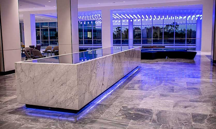 The project called for stunning design with meticulous attention to detail in addition to full multitouch function, motion sensors and LED lighting.