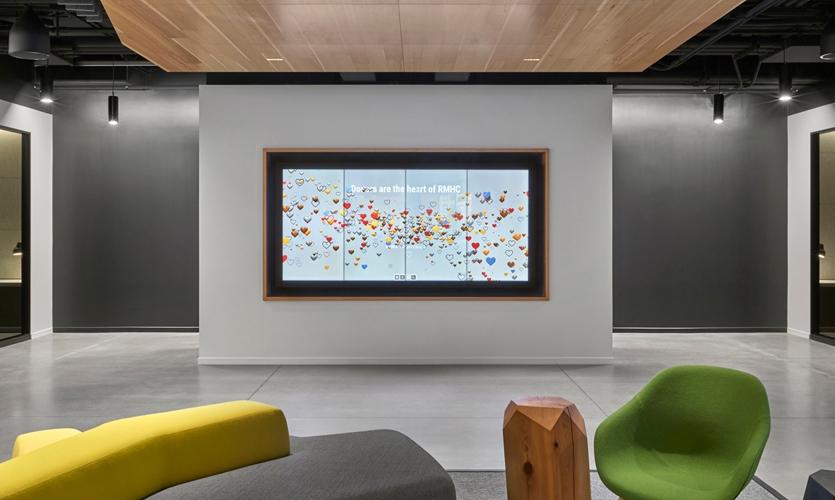 RMDHC interactive donor wall installation