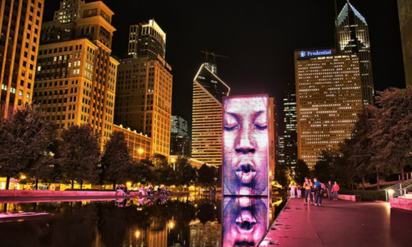 Jaume Plensa's 50-ft.-tall video fountains in Millennium Park (2004) are modern-day interpretations of the traditional civic water fountains that often featured gargoyles spouting water.