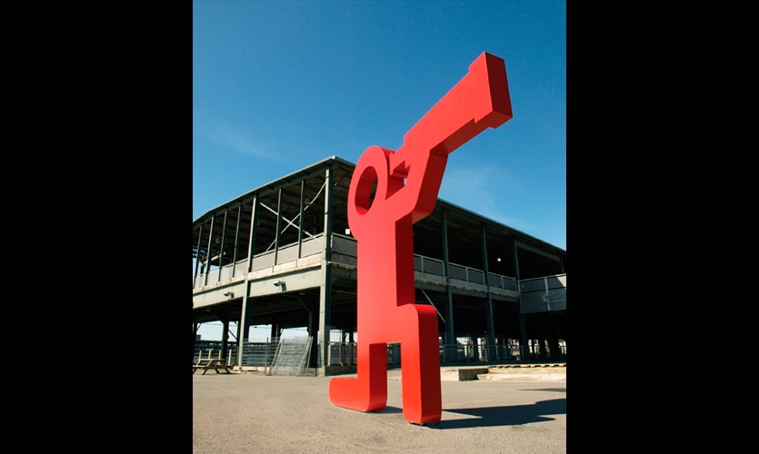 A pair of giant three-dimensional pictograms—this one almost 13 ft. high and 14-ft. across—lure visitors to explore the Montreal Science Centre, located in the Old Port of Montreal.