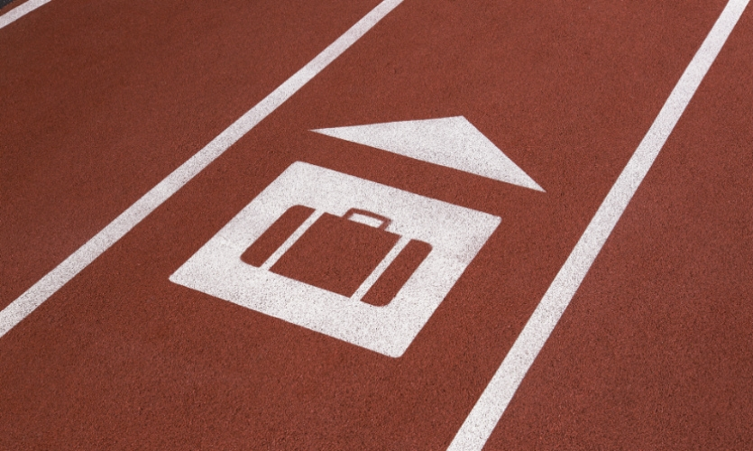 The track itself also incorporates simple wayfinding messaging....