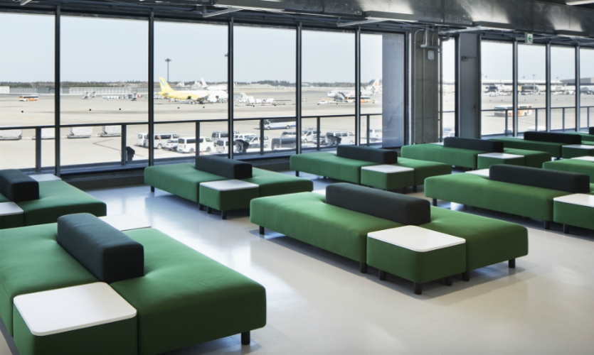 Retailer Muji partnered with the airport to provide bright furnishings.