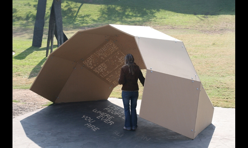 """The One-Day Poem Pavilion harnesses the rotation of the earth to create """"shadow poems"""" projected through hundreds of perforations in the dome-shaped shelter."""