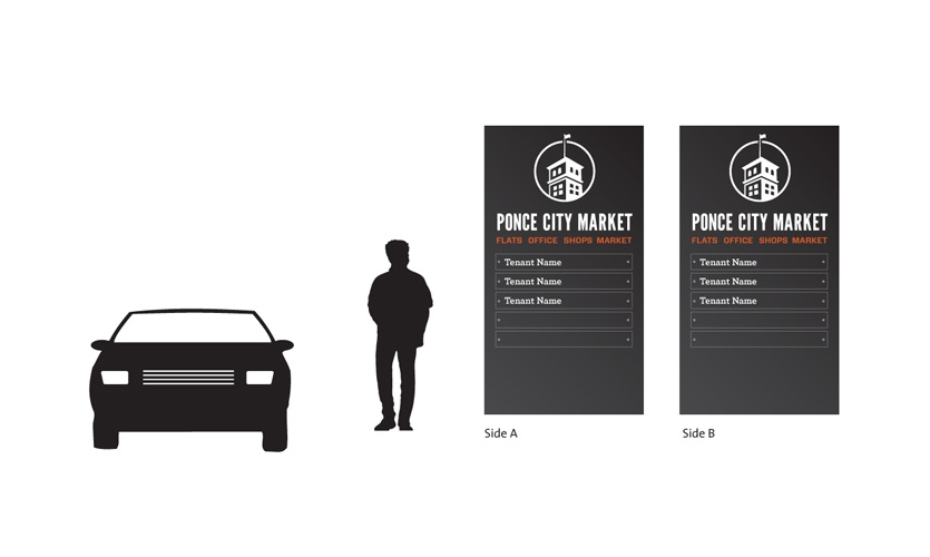 Exterior wayfinding signage will be built of raw steel and will incorporate the Ponce City market identity created by Jamestown.
