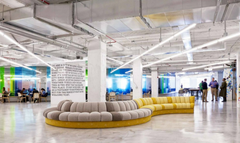Chicago perpetually reinvents itself. Case in point: the repurposed Merchandise Mart, which now houses some of the city's most creative and sought-after office space. 1871 (designed by Gensler) is a co-working space and incubator. (Photo: Gensler/Antuany Smith)
