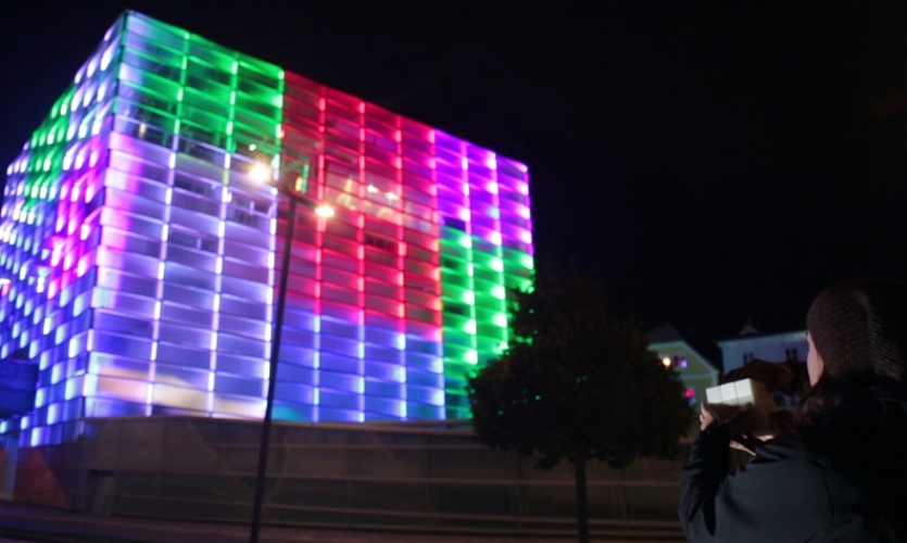 Puzzle Facade by Javier Lloret (2013) proposes responsive, interactive architecture. Users played with a Rubik's Cube-like interface to change the lighting patterns on the facade of an arts center in Linz, Austria.