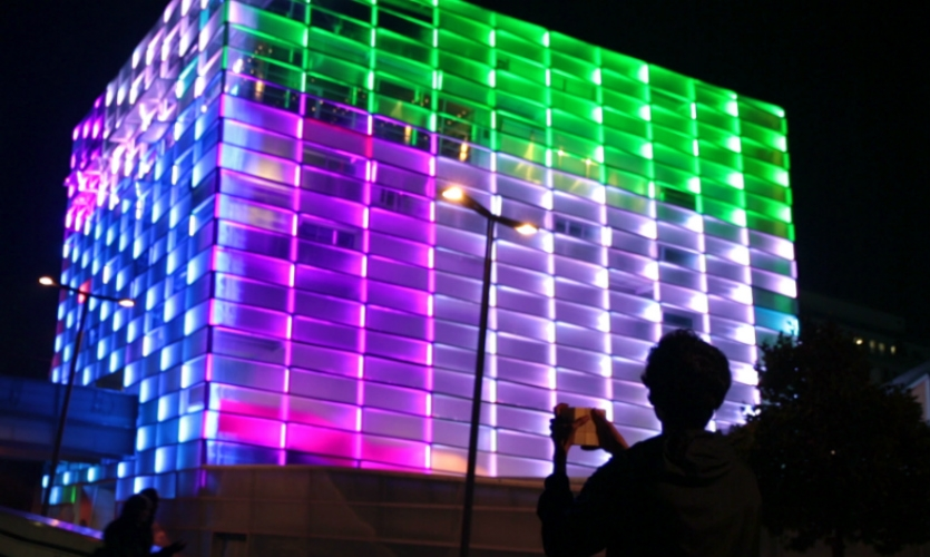 It transforms the facade of the Ars Electronica center in Linz, Austria, into a building-scale game.