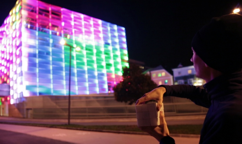 The facade was a playful way to engage users with the urban center.