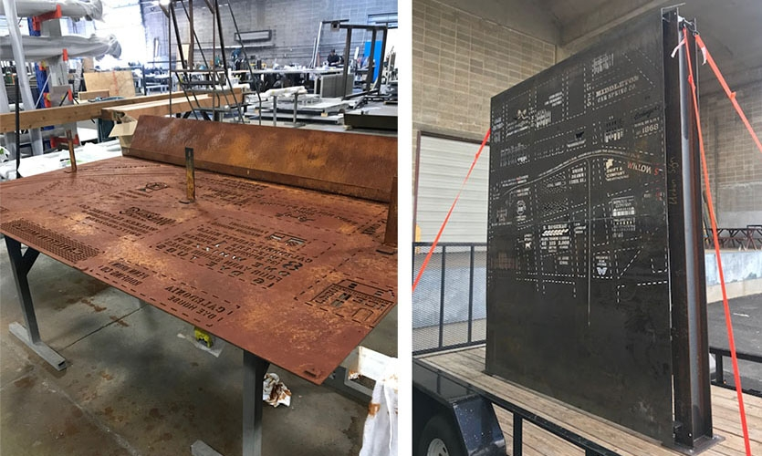 Many samples and prototypes were created to check scale, readability and the structural integrity of the material as well as how it would weather outdoors versus in the shop.