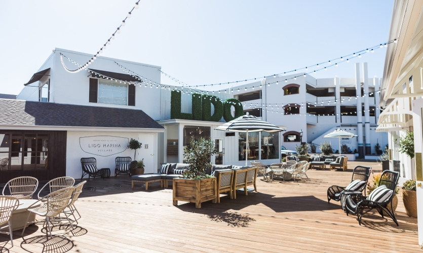 Lido Marina Village was transformed into an eclectic luxury gathering area for the Balboa Peninsula community.