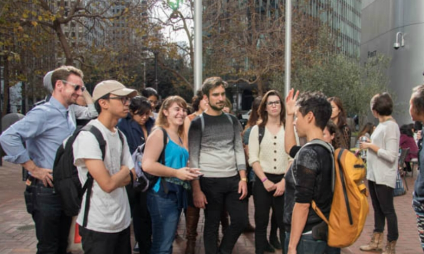 Danielle Lindsay, SEGD San Francisco Co-Chair (backpack) shares San Francisco with a group of graphic design students from UC Davis.