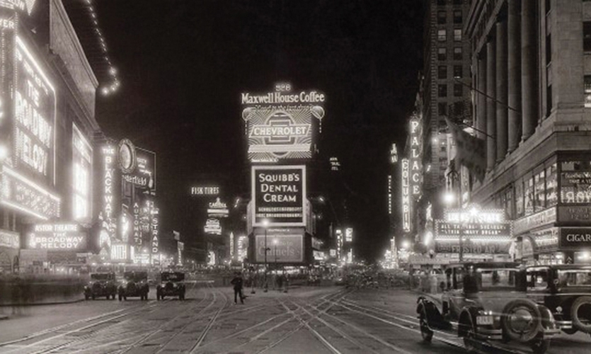 Times Square (1920s). This popular gathering place came into its own as modern illuminated signs and neon transformed the Great White Way into one of the first immersive media environments. Las Vegas and Ginza took heed. (Photo: Thunder Bay Books)