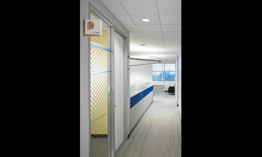 Throughout the office, vinyl film in a geometric pattern provides graphic interest and privacy in meeting rooms.
