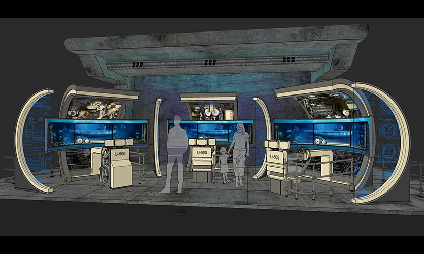 A rendering of the three U-505 Dive Trainer interactive stations.