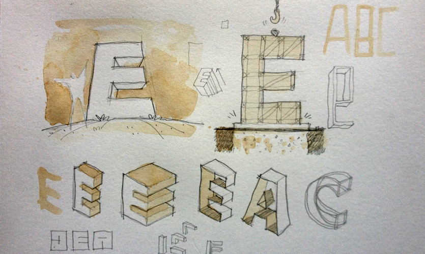The wayfinding system for this university was organized by letter. The idea of proposing giant letters was irresistible to me... I did this sketch during breakfast, and colored it with coffee. Yes. Coffee.